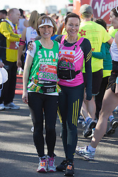 © Licensed to London News Pictures. 21/04/2013. London, England. Picture: Sian Williams and Susanna Reid. Celebrity Runners at a photocall before the start of the Virgin London Marathon 2013 race. Many wore black ribbons to pay their respect for those who died or were injured in the Boston Marathon. Photo credit: Bettina Strenske/LNP