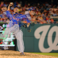 26 July 2013:  New York Mets starting pitcher Matt Harvey (33) pitches against the Washington Nationals in an in camera multiple exposure  at Nationals Park in Washington, D.C. where the Washington Nationals defeated the New York Mets, 2-1 in the second game of day night doubleheader.
