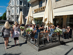 Busy cafe on famous Avenyn street in Gothenburg Sweden