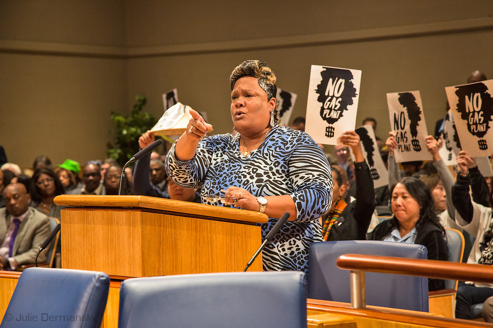 Sylvia McKenzie  one of the many opponents of Entergy's Natural Gas Power plant in New Orleans speak out at a New Orleans CIty Council Meeting.