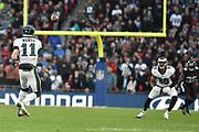 Philadelphia Eagles Carson Wentz QB (11) throws the ball to Philadelphia Eagles Jordan Matthews WR (80) during the International Series match between Jacksonville Jaguars and Philadelphia Eagles at Wembley Stadium, London, England on 28 October 2018.