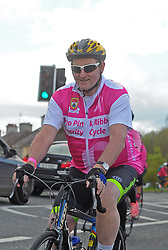 On the Road again…. former Taoiseach Enda Kenny TD taking part in the Mayo Pink Ribbon Charity cycle on saturday last.<br /> Pic Conor McKeown