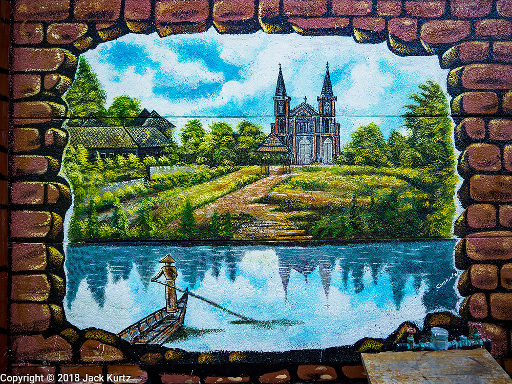 23 DECEMBER 2018 - CHANTABURI, THAILAND: A mural of the Immaculate Conception Cathedral in Chantaburi. Chantaburi is the capital city of Chantaburi province on the Chantaburi River. Because of its relatively well preserved tradition architecture and internationally famous gem market, Chantaburi is a popular weekend destination for Thai tourists.   PHOTO BY JACK KURTZ