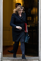 © Licensed to London News Pictures. 09/01/2018. London, UK. Secretary of State for International Development Penny Mordaunt leaves 10 Downing Street after the first meeting of the Cabinet after Prime Minister Theresa May's reshuffle. Photo credit: Rob Pinney/LNP