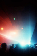 Lights during a rave, High Wycombe, UK, 1980s.