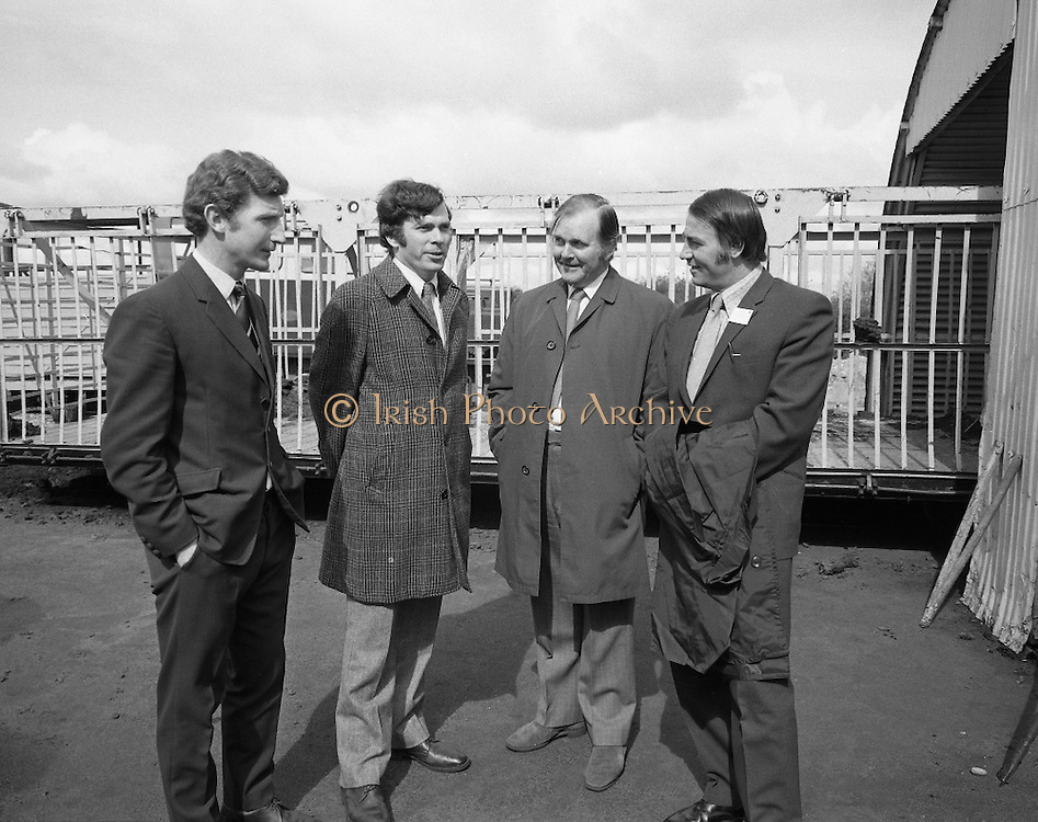 British Merchants Visit Bord Na Mona..07.06.1972..06.07.1972..7th June 1972..A group of forty British Merchants were invited by Bord na Mona to tour their works at Coolnamona,Portlaoise,Co Laois..Image taken of Mr S Grogan,Works Manager,Coolnamona, Mr S Bennett,Albert Bennett & Son Ltd,Shirley,Croydon,Surrey, Mr D Onslow, Gibbs Palmer Ltd,Norwich,Norfolk and Mr M Rowley,Agricultural Central Trading Ltd,Cambridge.