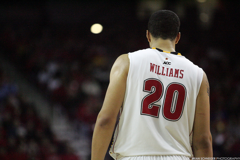 Jan 22, 2011; College Park, MD, USA; Maryland Terrapins forward Jordan Williams (20) reacts against the Clemson Tigers during the second half at the Comcast Center. Mandatory Credit: Brian Schneider-www.ebrianschneider.com