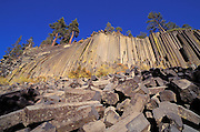Afternoon light on cliff and blocks of columnar basalt at Devil's Postpile, Devil's Postpile National Monument, California