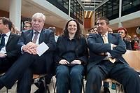 """14 SEP 2010, BERLIN/GERMANY:<br /> Michael Sommer (L), DGB Bundesvorsitzender, Andrea Nahles (M), SPD Generalsekretaerin, und Sigmar Gabriel (R), SPD Parteivorsitzender, SPD Veranstaltung """"Die Finanztransaktionssteuer: Ursachen der Krise bekaempfen - Verursacher an den Kosten beteiligen"""", Willy-Brandt-Haus<br /> IMAGE: 20100914-01-002<br /> KEYWORDS: Konferenz, Finanzmarkt"""
