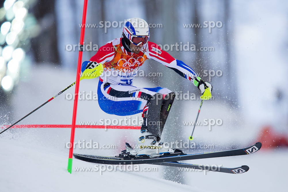 14.02.2014, Rosa Khutor Alpine Center, Krasnaya Polyana, RUS, Sochi 2014, Super- Kombination, Herren, Slalom, im Bild Adrien Theaux (FRA) // Adrien Theaux of France in action during the Slalom of the mens Super Combined of the Olympic Winter Games 'Sochi 2014' at the Rosa Khutor Alpine Center in Krasnaya Polyana, Russia on 2014/02/14. EXPA Pictures © 2014, PhotoCredit: EXPA/ Johann Groder