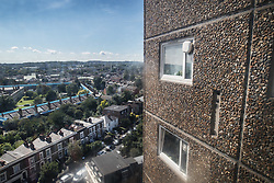© Licensed to London News Pictures. 11/08/2017. London, UK. A view from the 9th floor of a block on the Ledbury Estate. Residents on the Ledbury Estate in south London have been told they will have to leave their properties over the next few weeks. A structural survey carried out after the Grenfell fire found cracks that could lead to a collapse if a gas explosion occured in one of the flats. Photo credit: Peter Macdiarmid/LNP