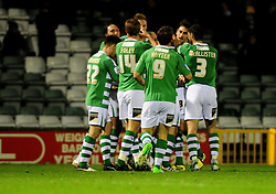 Yeovil Town celebrate Yeovil Town's Edward Upson's goal - Photo mandatory by-line: Dougie Allward/JMP  - Tel: Mobile:07966 386802 04/12/2012 - SPORT - FOOTBALL - Johnstone's Paint Trophy  -  Yeovil  -  Huish Park  -  Yeovil Town V Wycombe Wanderers