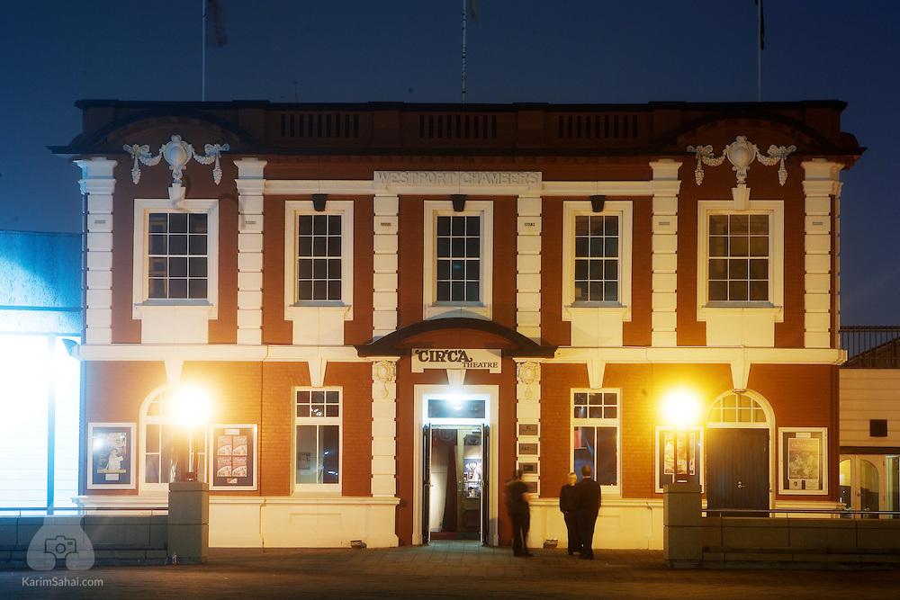 Circa Theatre at night, Wellington, New Zealand.