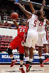 March 19, 2011; Stanford, CA, USA; St. John's Red Storm guard Eugeneia McPherson (22) shoots over Texas Tech Lady Raiders guard Christine Hyde (5) during the first half of the first round of the 2011 NCAA women's basketball tournament at Maples Pavilion. St. John's defeated Texas Tech 55-50.