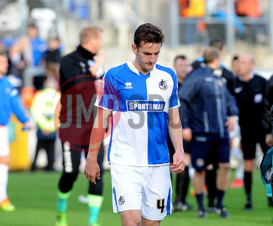 A dejected Tom Lockyer of Bristol Rovers - Mandatory byline: Neil Brookman/JMP - 07966 386802 - 24/10/2015 - FOOTBALL - Memorial Stadium - Bristol, England - Bristol Rovers v Newport County AFC - Sky Bet League Two