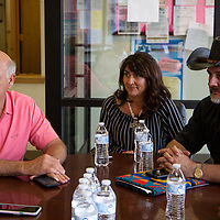 Congressman Steve Pearce, left, and his running mates Michelle Garcia Holmes, center, for Lt. Govenor and Dr. Gavin Clarkson, right, for Secretary of State meet at the Twin Lakes Chapter House Friday afternoon to discuss issues within the area and their goals for the future with Chapter Community Service Coordinator Vera Morgan.