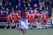 Keighley Cougars winger Andy Gabriel (2) goes clear to score the last minute try and celebrates the try that secures the victory during the Betfred League 1 match between Keighley Cougars and Workington Town at Cougar Park, Keighley, United Kingdom on 18 February 2018. Picture by Simon Davies.
