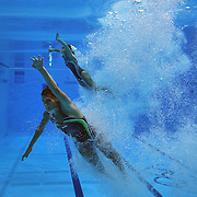 Annabelle Smith and Sharlee Stratton, Australia, in action during the Women's Synchronised 3m springboard diving competition at the Aquatic Centre at Olympic Park, Stratford during the London 2012 Olympic games. London, UK. 29th July 2012. Photo Tim Clayton