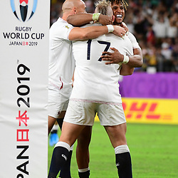 Anthony WATSON of England is congratulated after his try during the Rugby World Cup 2019 Quarter Final match between England and Australia on October 19, 2019 in Oita, Japan. (Photo by Dave Winter/Icon Sport) - Anthony WATSON - Oita Stadium - Oita (Japon)