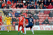 Walsall defender Jon Guthrie (5) beats Southend United forward Marc-Antoine Fortune (9) to a header 0-0 during the EFL Sky Bet League 1 match between Walsall and Southend United at the Banks's Stadium, Walsall, England on 28 October 2017. Photo by Alan Franklin.