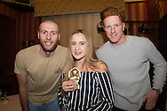 Amy Fairweather, Monifieth ladies under 13s most improved player pictured with Dundee United's Lewis Toshney and Simon Murray at Monifieth Ladies presentation evening at the Panmure Hotel, Monifieth - Photo: David Young, <br /> <br />  - &copy; David Young - www.davidyoungphoto.co.uk - email: davidyoungphoto@gmail.com