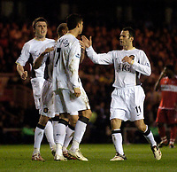 Photo: Jed Wee/Sportsbeat Images.<br /> Middlesbrough v Manchester United. The FA Cup. 10/03/2007.<br /> <br /> Manchester United congratulate goalscorer Cristiano Ronaldo.