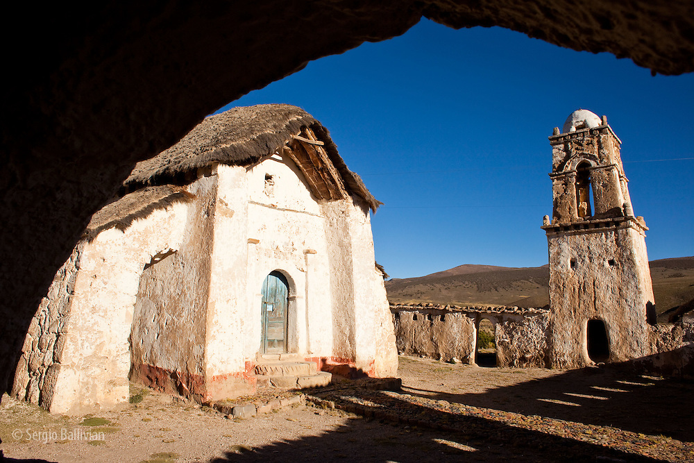 An old colonial-era church located in the high-altitude village of Tomarapi in Sajama National Park  is located in  the western Andean highlands next to Chile.  This is one of Bolivi'as national historical treasures and is protected by decree.