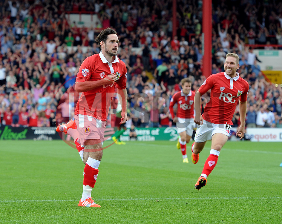 Bristol City's Greg Cunningham celebrates his goal - Photo mandatory by-line: Joe Meredith/JMP - Mobile: 07966 386802 - 6/09/14 - SPORT - FOOTBALL - Bristol - Ashton Gate - Bristol City v Scunthorpe United - Sky Bet League One