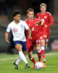 England U21's Reiss Nelson (left) and Denmark U21's Marcus Ingvartsen battle for the ball during the international friendly match at the Blue Water Arena, Esbjerg.