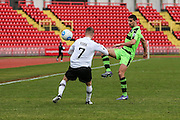 Forest Green Rovers Omar Bugiel(11) plays a pass during the Vanarama National League match between Gateshead and Forest Green Rovers at Gateshead International Stadium, Gateshead, United Kingdom on 18 February 2017. Photo by Shane Healey.