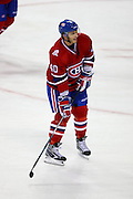 17 November 2009: Montreal Canadiens' Maxim Lapierre during the warm-up session prior to the first period against Carolina Hurricanes at the Bell Centre in Montreal, Quebec, Canada. Montreal Canadiens defeated Carolina Hurricanes 3-2 after a shootout.