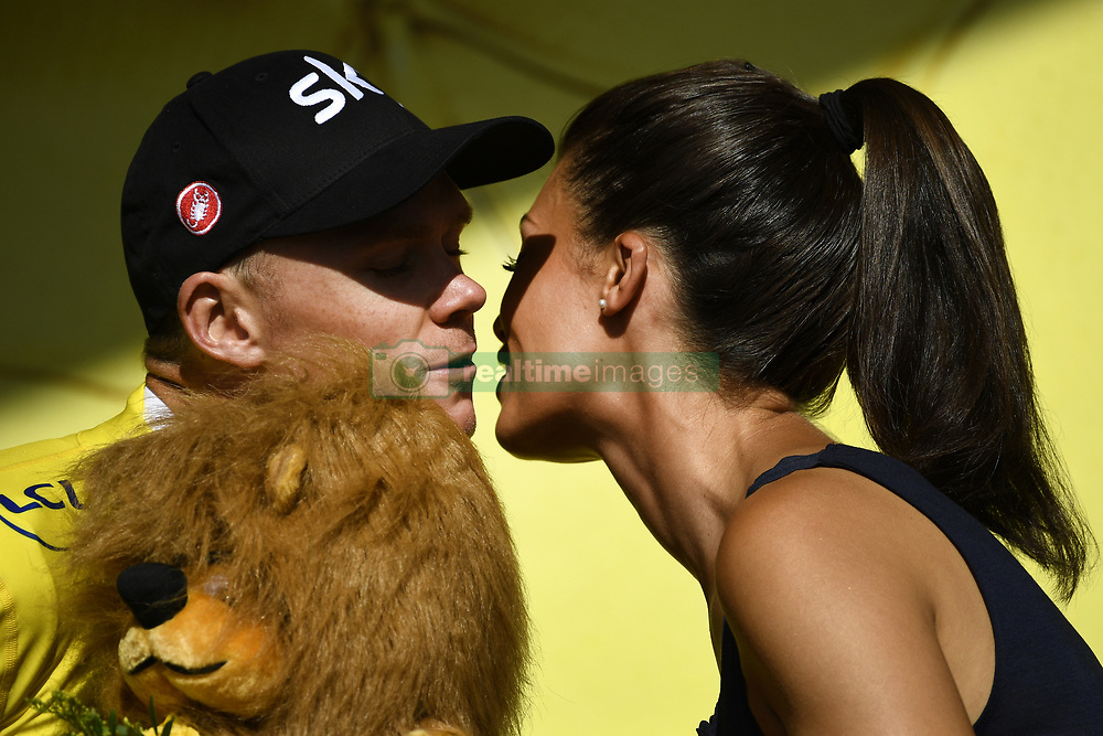 July 7, 2017 - Nuits-Saint-Georges, FRANCE - British Chris Froome of Team Sky pictured on the podium wearing the yellow jersey of overal leader after the seventh stage of the 104th edition of the Tour de France cycling race, 213,5 km from Troyes to Nuits-Saint-Georges, France, Friday 07 July 2017. This year's Tour de France takes place from July first to July 23rd. BELGA PHOTO YORICK JANSENS (Credit Image: © Yorick Jansens/Belga via ZUMA Press)