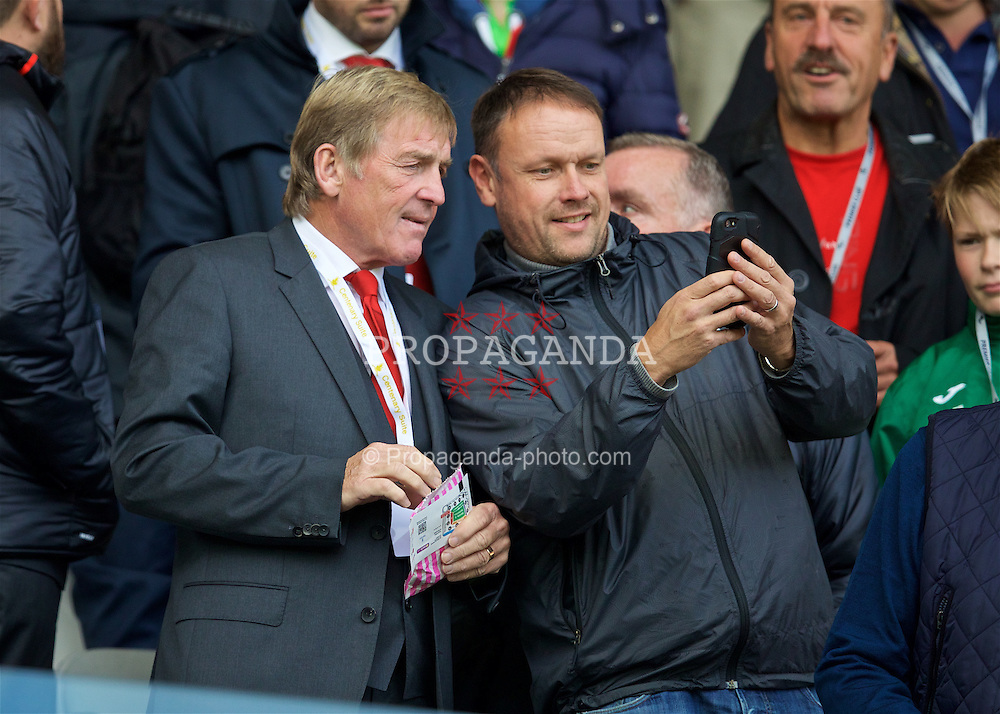 LIVERPOOL, ENGLAND - Saturday, October 1, 2016: A supporter takes a selfie with Liverpool's non-executive director Kenny Dalglish during the FA Premier League match against Swansea City at the Liberty Stadium. (Pic by David Rawcliffe/Propaganda)