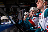 KELOWNA, CANADA - DECEMBER 29: Michael Farren #16 of the Kelowna Rockets sits on the bench against the Kamloops Blazers  on December 29, 2018 at Prospera Place in Kelowna, British Columbia, Canada.  (Photo by Marissa Baecker/Shoot the Breeze)