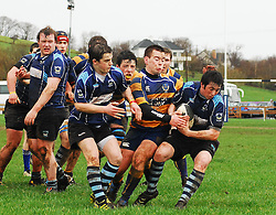 Niall McCarthy Rice College Westport tries to hold off Eoin Kelly Marist College Athlone during the Connacht Senior Schools Semi Final in Carrowholly Westport. The sides will meet again after a scoreline of 15-15...Pic Conor McKeown