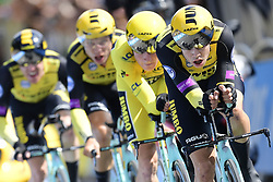 July 7, 2019 - Bruxelles, Belgium - BRUSSELS, BELGIUM - JULY 7 :  VAN AERT Wout (BEL) of TEAM JUMBO - VISMA leads TEUNISSEN Mike (NED) of TEAM JUMBO - VISMA during stage 2 of the 106th edition of the 2019 Tour de France cycling race, a team time trial of 27,6 kms with start and finish in Brussels on July 07, 2019 in Brussels, Belgium, 7/07/2019 ( Motordriver Kenny Verfaillie - Photo by Peter De Voecht / Photo News. (Credit Image: © Panoramic via ZUMA Press)