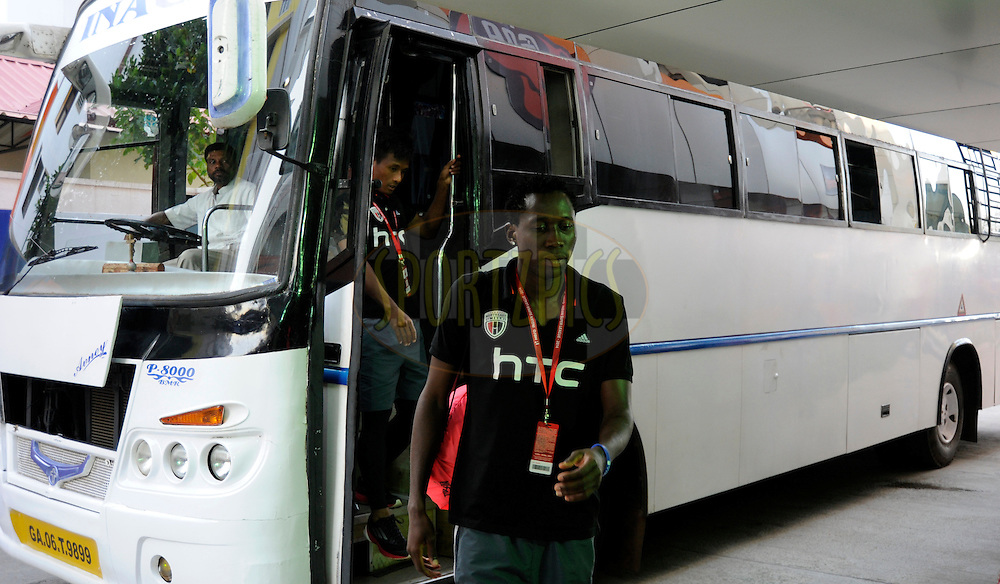 players from NorthEast United FC arrive at the stadium before the start of match 46 of the Hero Indian Super League between FC Goa and North East United FC held at the Jawaharlal Nehru Stadium, Fatorda, India on the 1st December 2014.<br /> <br /> Photo by:  Pal Pillai/ ISL/ SPORTZPICS