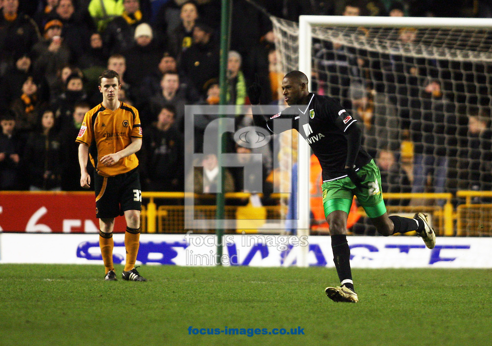 Wolverhampton - Tuesday February 3rd, 2009: Norwich City's Carl Cort celebrates scoring to make it  2-1 against Wolverhampton Wanderers during the Coca Cola Championship match at Molineaux, Wolverhampton. (Pic by Chris Ratcliffe/Focus Images)