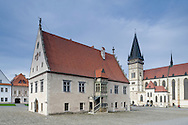 The Town Hall, built during the Renaissance, and the Basilica of St Egidious (Bazilika Sv Egidia) in the historic centre of Bardejov, a UNESCO World Heritage Site, Slovakia