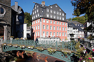 Steel fish sculpture on a bridge over the River Rur in front of the Red House in Monschau ..., Travel, lifestyle
