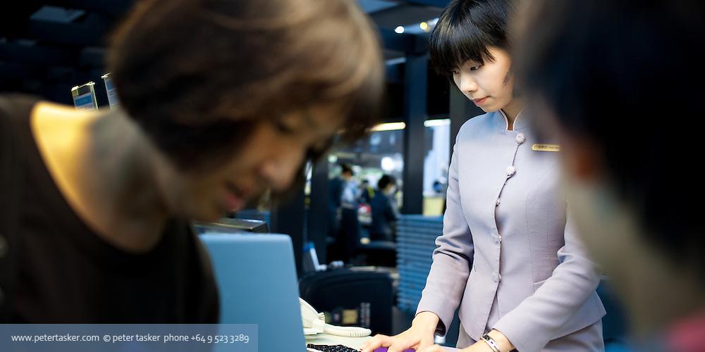 Checking in at Taipei International Airport.
