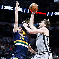 02 April 2017: San Antonio Spurs center Pau Gasol (16) goes for the jump shot against Utah Jazz center Jeff Withey (24) during the San Antonio Spurs 109-103 victory over the Utah Jazz, at the AT&T Center, San Antonio, Texas, USA.