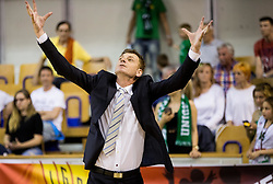 Gasper Okorn, head coach of KK Union Olimpija reacts during basketball match between KK Union Olimpija and KK Rogaska in 2nd Final game of Liga Nova KBM za prvaka 2016/17, on May 19, 2017 in Hala Tivoli, Ljubljana, Slovenia. Photo by Vid Ponikvar / Sportida