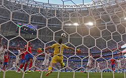 SAMARA, June 17, 2018  Goalkeeper Vladimir Stojkovic of Serbia defends during a group E match between Costa Rica and Serbia at the 2018 FIFA World Cup in Samara, Russia, June 17, 2018. Serbia won 1-0. (Credit Image: © Fei Maohua/Xinhua via ZUMA Wire)