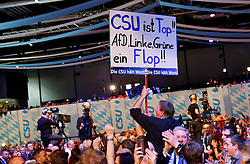 06.03.2019, Dreiländerhalle, Passau, GER, Politischer Aschermittwoch der CSU, im Bild CSU Plakat // during the Political Ash Wednesday of the CSU Party at the Dreiländerhalle in Passau, Germany on 2019/03/06. EXPA Pictures © 2019, PhotoCredit: EXPA/ SM<br /> <br /> *****ATTENTION - OUT of GER*****
