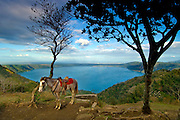 A horse waits to give rides to tourists around the Laguna de Apoyo, a water filled crater of an extinct<br />