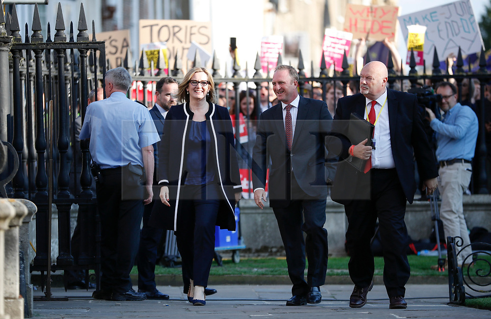 © Licensed to London News Pictures. 31/05/2017. Cambridge, UK.  Home secretary AMBER RUDD arrives at Senate House in Cambridge ahead of a leaders debate on BBC one. Recent polls have show a closing in the gap between the Labour Party and Conservative Party, in what was expected to be a landslide general election victory for the Conservatives. Photo credit: Peter Macdiarmid/LNP