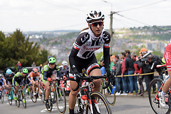 Leah Kirchmann tackles the Mur de Huy at La Flèche Wallonne Femmes - a 120 km road race starting and finishing in Huy on April 19 2017 in Liège, Belgium.