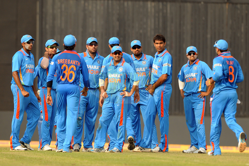 Indian cricket team during the 1st ODI (One Day International) held at the Nehru Stadium in Guwahati, Assam, India on the 28 th November 2010.Photo by Pal Pillai/BCCI/SPORTZPICS
