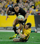Hosea Gear goes for the try line, , Rugby Championship. Australia v All Blacks at ANZ Stadium, Sydney, New Zealand. Saturday 18 August 2012. New Zealand. Photo: Richard Hood/photosport.co.nz